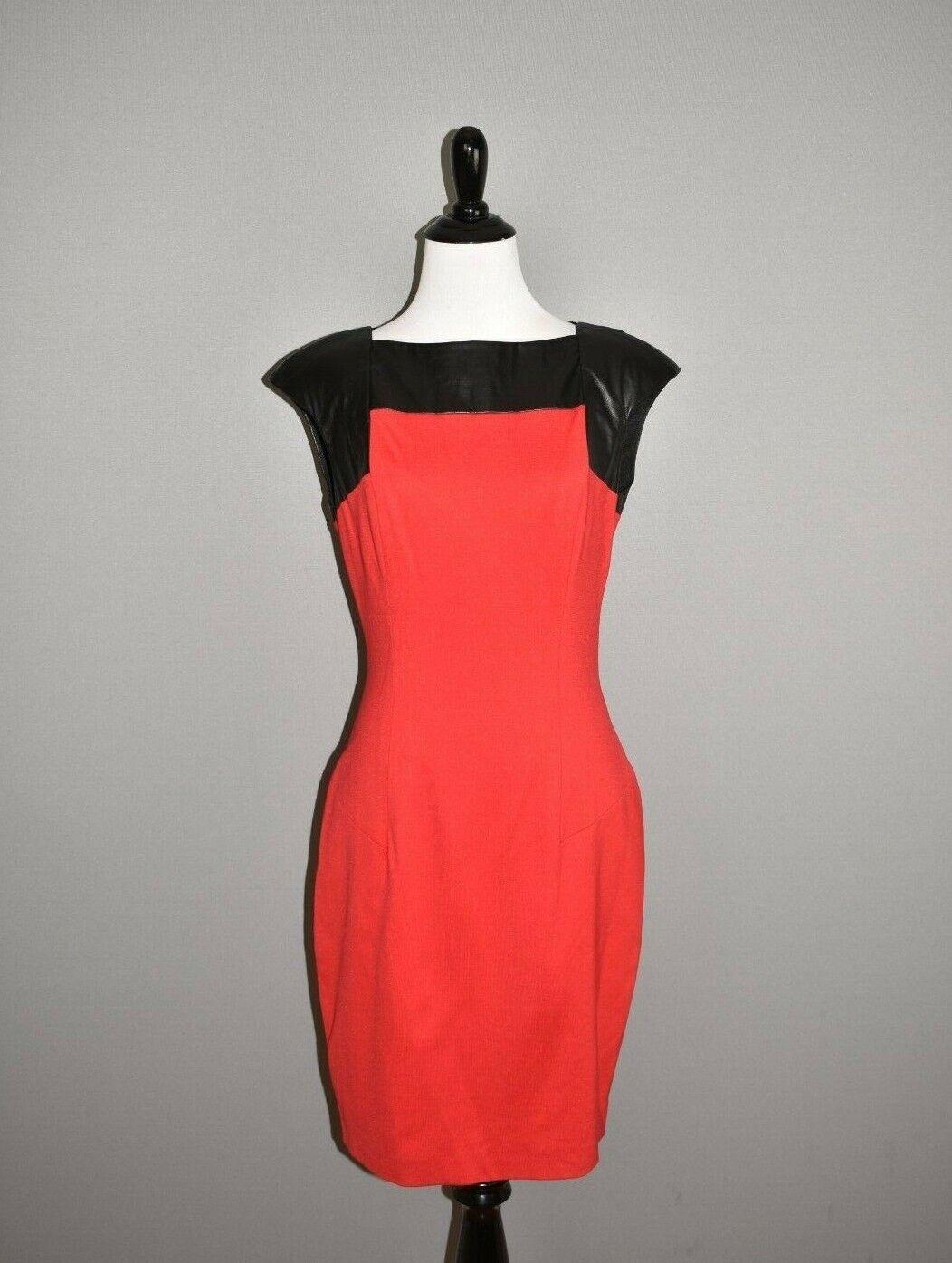 CYNTHIA STEFFE NEW  Red Ponte Sheath Ash Faux Leather Panel Dress Size 8
