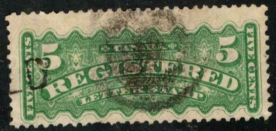 🍁 Canada # F2 - 5¢ 1875-1888 REGISTERED LETTER STAMP