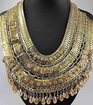 Fashion pentand Crystal Bib Statement charm chunky colorful collar Necklace 768