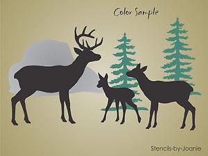 Image Is Loading Rustic Stencil Deer Family Buck Doe Fawn Tree