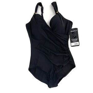 Miraclesuit-Womens-Size-16-Black-Razzle-Dazzle-Siren-Waist-Slimming-Swimsuit-NWT