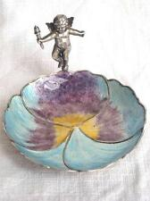 Antique Guilloche Enamel Pansy & Putto Sterling Silver Trinket / Pin Dish 1921