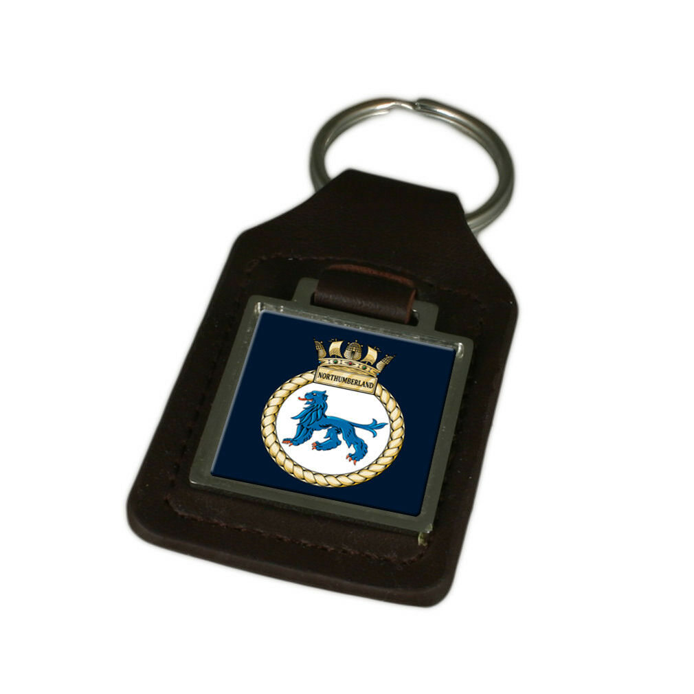 Königliche Marine Hms Northumberland Graviert Schlüsselanhänger aus Leder | Verrückter Preis