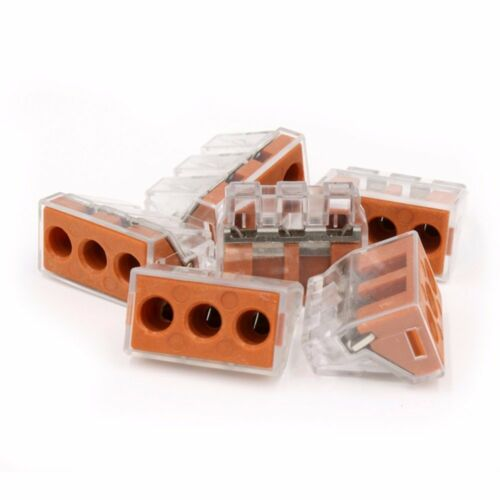 6 Pcs 3 Port Quick Push In Wire Connectors 16-10 Gauge 24A 400V Conductor