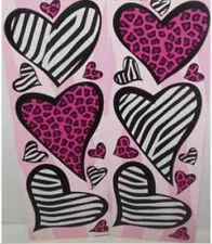 ANIMAL PRINT HEARTS wall stickers 20 decals SCRAPBOOKING zebra cheetah spots