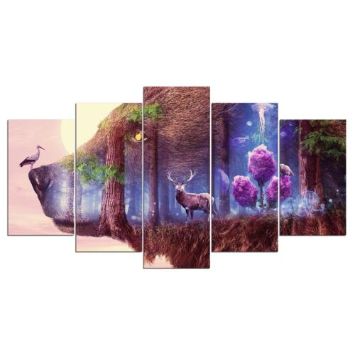 Bear Forest Bird Large 5 Panel Canvas Art Wall Pictures for Living Room