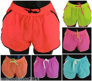 40ea3a1f780a4e Das Bild wird geladen Damen-Badehose-Neu-Neon-Shorts-Badehosen -Short-Schwimmhose-