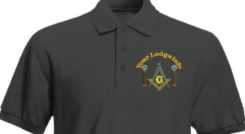 Freemason Masonic Compass Columns Custom Embroidered Polo Shirt Embroidered Gift