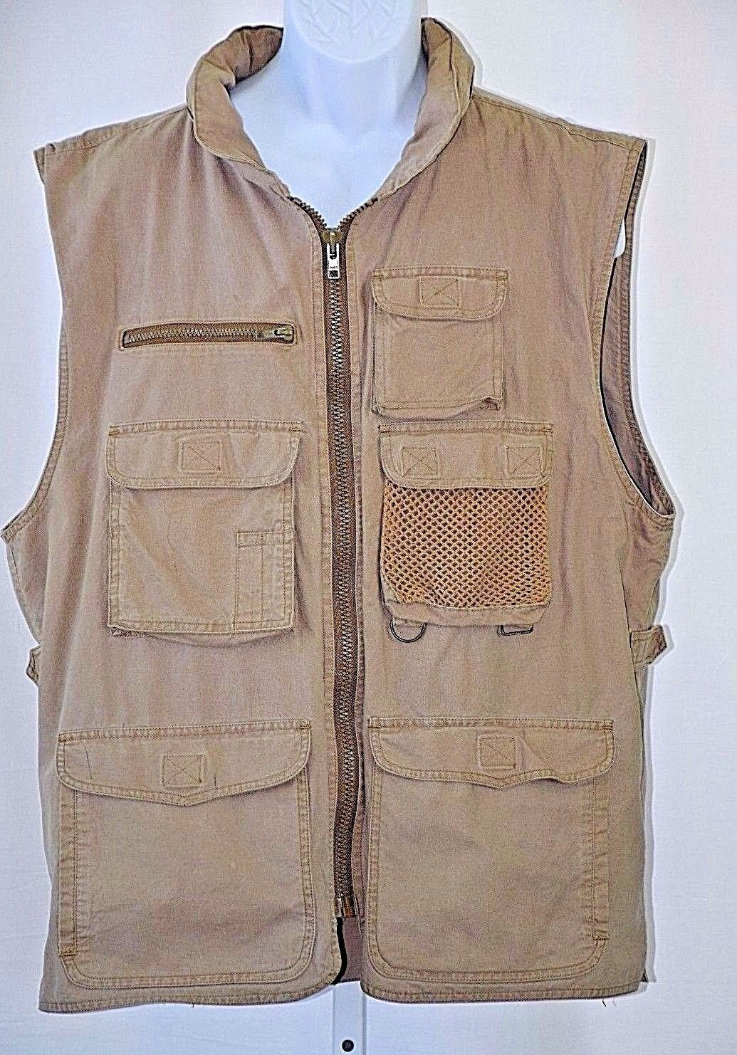 Banana Republic XL Khaki Original Travel Clothing Safari Bush Photography Vest