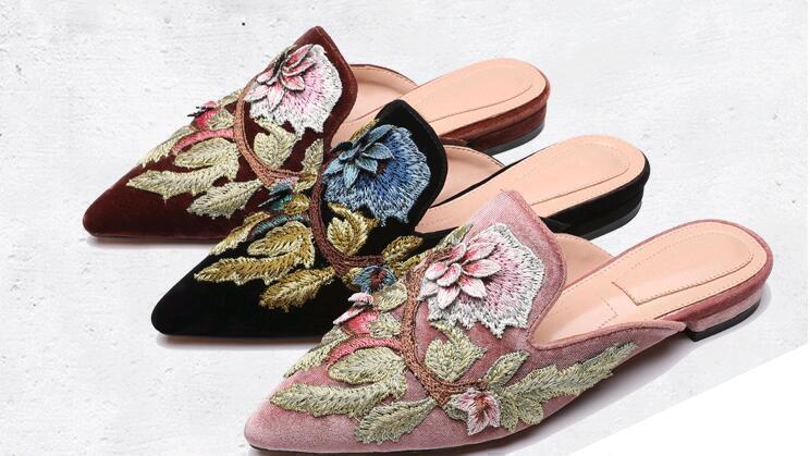 Hot Women Folwer Embroidery Flats Velvet Toe Pointed Toe Velvet Slippers Shoes Slippe Mules bc99ab