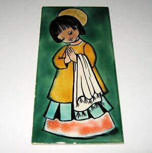 Vintage-Villeroy-amp-Boch-Preghiera-Angelo-in-Ceramica-Piastrelle-Made-in-Francia