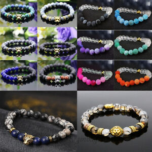 Men-Women-Handmade-Lava-Rock-Bracelets-Natural-Beads-Gemstone-Buddha-Head-Beaded