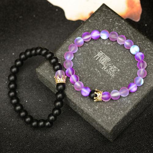 Deux bracelets Zircon Couronne ONYX ROSE PIERRE DE LUNE PERLES promesse Bracelets 2Pcs//Set
