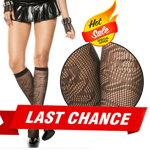 Black Fishnet Knee Highs w// Skull /& Crossbone Design Goth Punk Pirate Halloween