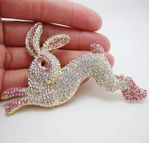 Pretty-Pink-Rabbit-bunny-Animal-Gold-tone-Brooch-Pin-Crystal-Rhinestone