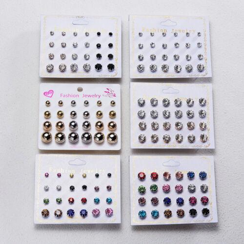12Pairs//Set Crystal Zircon Stainless Steel Earrings Sets Women Ear Stud Jewelry