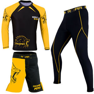 ROAR-MMA-Rash-Guard-Long-Sleeve-Bodybuilding-Men-039-s-Gear-BJJ-Short-Legging-Spat