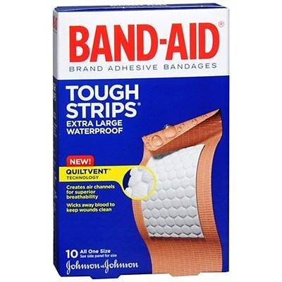 BAND-AID Tough-Strips Adhesive Bandages Extra Large 10 Each (Pack of 2)