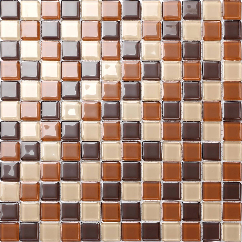 1 SQM Beige & braun Glass Mosaic Tiles 300x300x4mm (MT0082)