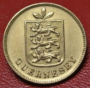1911-H-GUERNESEY-1-DOUBLE-GILTED-PINBACK-18-5mm-in-Dia-Nice