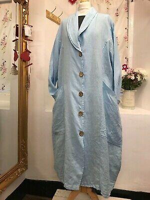 """Intelligente Lagenlook Bellissima Luce Blu 2 Tasche Lungo Vestito Di Lino/giacca Busto 48 - 52""""-mostra Il Titolo Originale Comodo E Facile Da Indossare"""