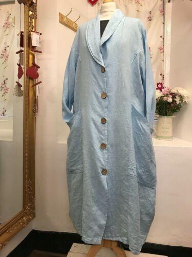 en bleu lin Lagenlook 2 à Robe longue poches Buste 50 46 veste clair CwwSntq18