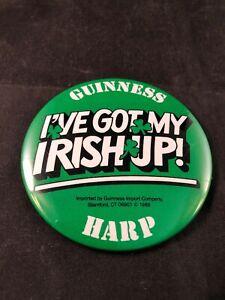 "Vintage 1988 GUINNESS HARP Beer 3/"" Pinback Button I/'VE GOT MY IRISH UP!"