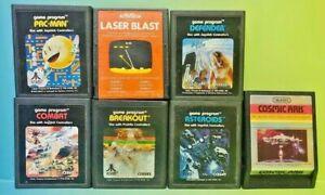 Pac-Man-Asteroids-Defender-Cosmic-Ark-Breakout-Laser-Atari-2600-Game-Lot-Tested