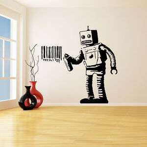 Banksy Vinyl Wall Decal Robot Graffiti Machine Painting Barcode - Custom vinyl wall decals graffiti