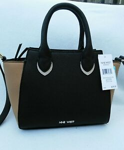 Image Is Loading Nine West Mini Satchel Bronaugh Black Brown Beige