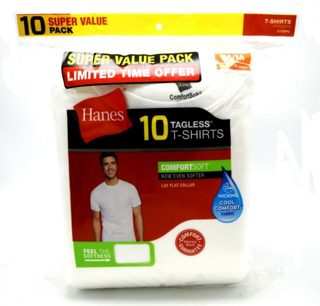 4750201972 Hanes Mens T-shirts 10-pack White Tagless Comfort Soft Crew Neck 100 Cotton