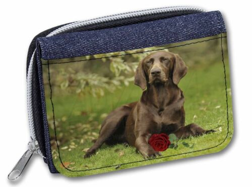 AD-GSP1RJW German Shorthaired Pointer with Red Rose Girls//Ladies Denim Purse Wa
