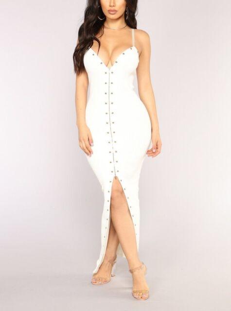 New Super Cute White Cocktail Party Stud Detail Maxi Dress size M 10
