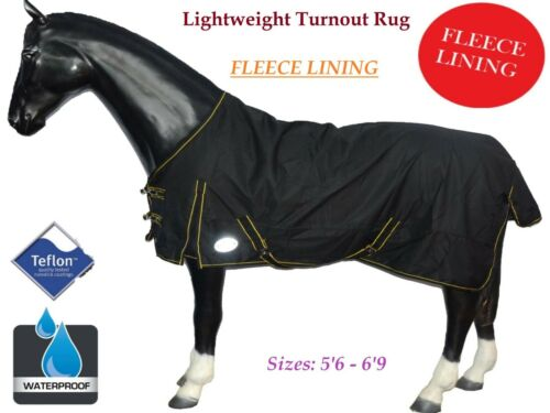 Ontariouk LIGHTWEIGHT WATERPROOF RAIN HORSE TURNOUT RUG *WITH FLEECE LINING*