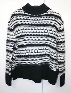 Superdry-Size-M-Chunky-Knit-Turtle-Neck-Black-White-Long-Sleeve-fashion