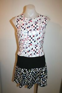 BCBG-pretty-cream-print-dress-size-4-AU-8-499-NEW