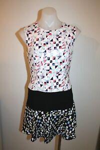 BCBG-pretty-cream-print-dress-size-4-AU-8-499-NEW