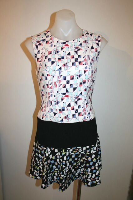 BCBG pretty cream print dress - size 4, AU 8 $499 NEW !