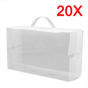 20-x-Ladies-Clear-Plastic-Shoe-Storage-Box-Stackable-Foldable-Boxes-Trainers-New