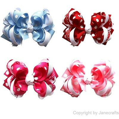 "8x 4.5"" Polka Dot Girl Baby Loopy Layered Grosgrain Hair Bows Clip Mixed 4 Color"