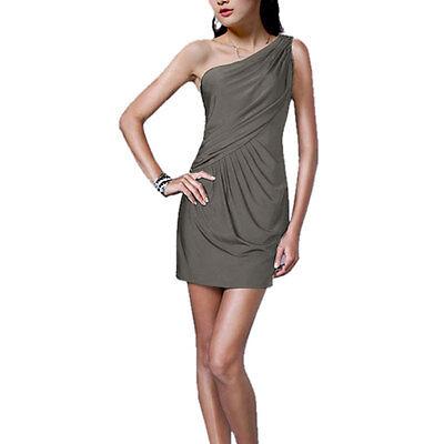 Fashion Draped One shoulder Jersey Cocktail Mini Dress Club Party Wear Gunmetal