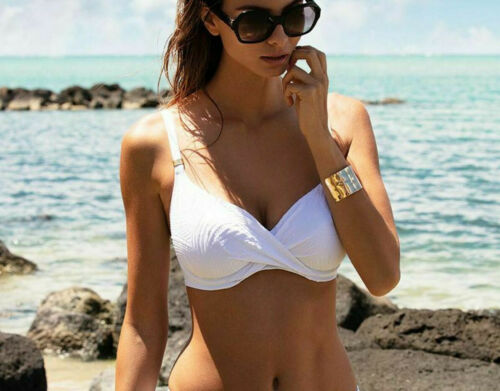Fantasie Ottawa Haut De Bikini Bustier full cup Wrap Front 6355 Blanc Taille UK 34GG