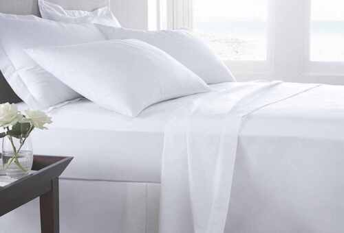 400 TC EGYPTIAN COTTON SATEEN FINISH FITTED SHEET SINGLE DOUBLE KING S.KING