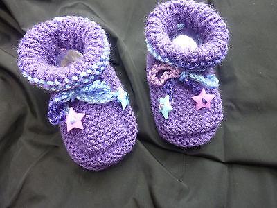 Lindo Bebé Nuevo Tejido a Mano Blanco Botines Zapatos Unisex corona 0/3