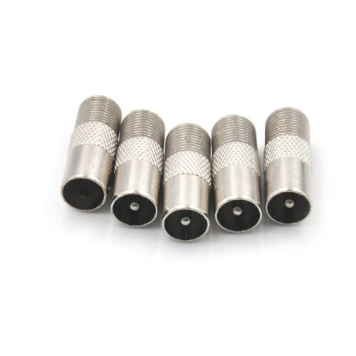 5Pcs F Type Female To TV Aerial RF Coaxial Male Connector Adapter Plug HICA