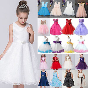 Flower Girls Kids Lace Dress Princess Formal Party Wedding Bridesmaid Pageant