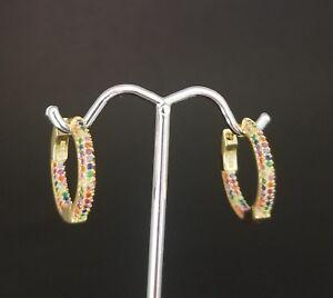 14k-Yellow-Gold-Over-Sterling-Silver-Round-Rainbow-Multi-Gemstones-Hoop-Earrings