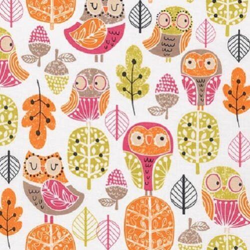 Robert Kaufman Acorn Forest Owls Sweet 100/% Cotton Sew FQ 1//2m Meter FREEPOST