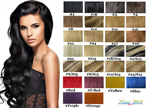 Lot-15-034-36-034-Clip-In-Remy-Real-Human-Hair-Extensions-Full-Head-Straight-75g-140g