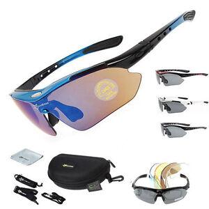 RockBros Polarized Cycling Glasses Eyewear Goggles Fishing Sunglasses 5 Lens
